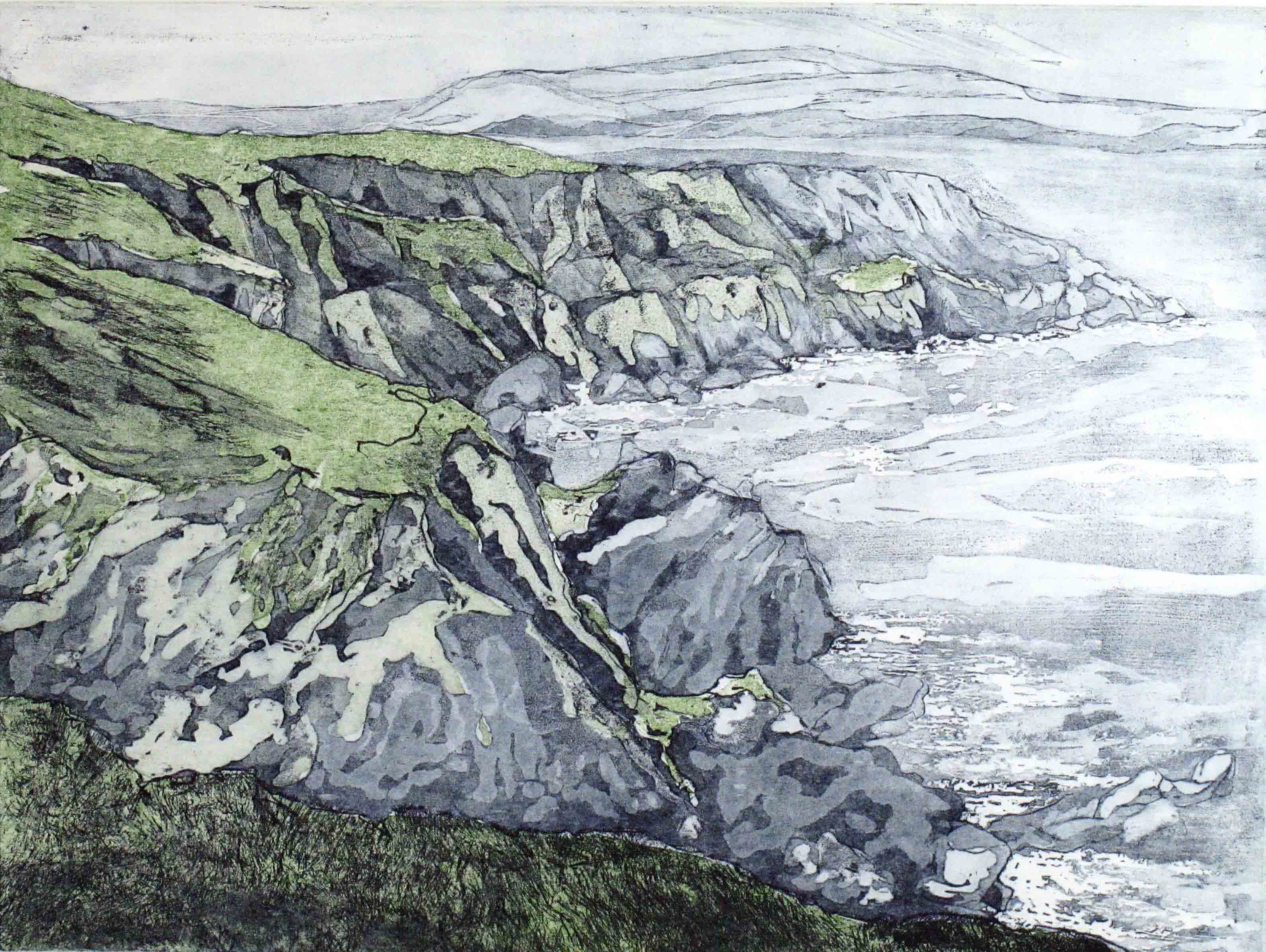 coastal path 3, etching